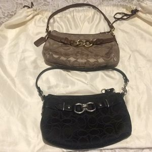 Coach set of 2 signature sateen wristlets